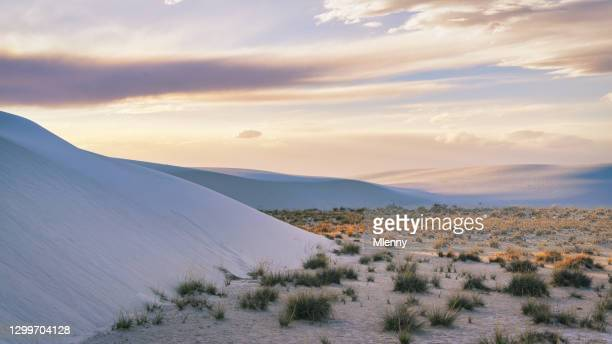new mexico sunset panorama white sands desert dunes usa - mlenny stock pictures, royalty-free photos & images