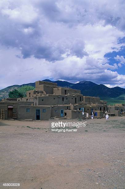 USA New Mexico Taos Pueblo Adobe Tourists