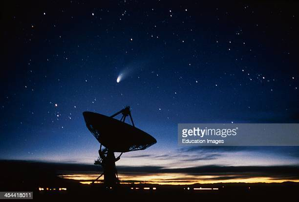 New Mexico, Vla Radio Telescope And Hale-Bopp Comet.