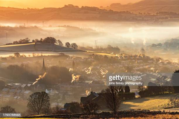new mills christmas day sunrise, english peak district. uk. - beauty stock pictures, royalty-free photos & images