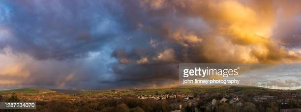 new mills stormy autumn sunset, high peak, derbyshire. uk - rural scene stock pictures, royalty-free photos & images