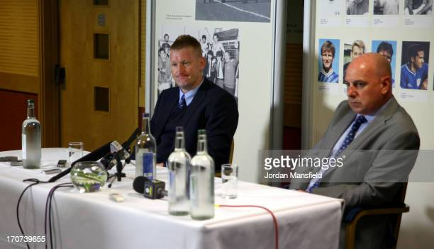 New Millwall FC manager Steve Lomas and Millwall FC CEO Andy Ambler talk to the media during the Millwall FC Press Conference at The Den on June 17...