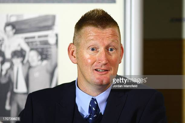 New Millwall FC manager Steve Lomas talks to the media during the Millwall FC Press Conference at The Den on June 17 2013 in London England