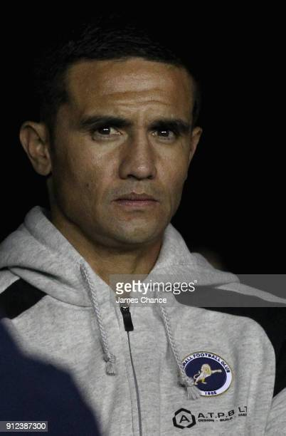 New Millwall signing Tim Cahill of Millwall looks on from the tunnel prior to the Sky Bet Championship match between Millwall and Derby County at The...