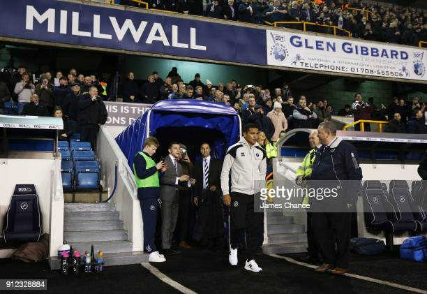 New Millwall signing Tim Cahill walks onto the pitch prior to the Sky Bet Championship match between Millwall and Derby County at The Den on January...