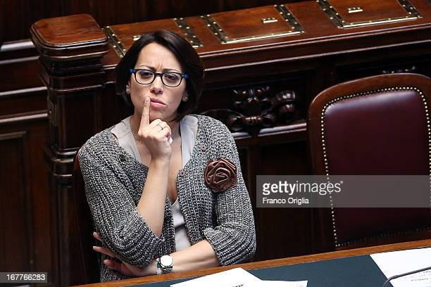 New Minister of Agricultural policies Nunzia De Girolamo attends the confidence vote at the Chamber of Deputies on April 29 2013 in Rome Italy The...