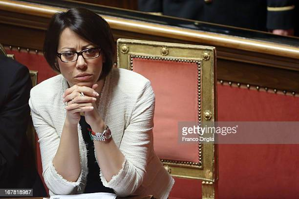 New Minister of Agricultural policies Nunzia De Girolamo attends the confidence vote at the Senate on April 30 2013 in Rome Italy The new coalition...