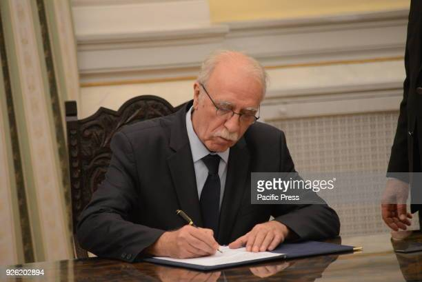 MANSION ATHENS ATTIKI GREECE New Minister of Immigration Policy Dimitris Bitsas puts his signature after his political oath