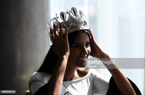 New Miss South Africa 2018 Tamaryn Green fixes her crown during an interview on May 28 2018 in Pretoria South Africa Green a 23yearold UCT medical...