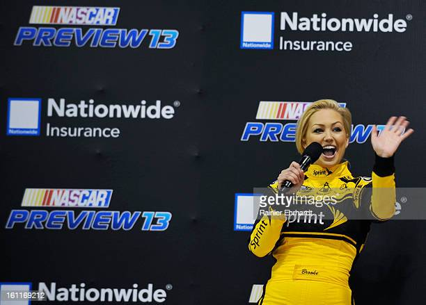 New Miss Sprint Cup Brooke Werner waves to race fans during the NASCAR Preview at the NASCAR Hall of Fame on February 9 2013 in Charlotte North...