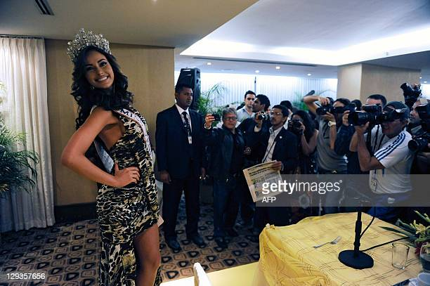 New Miss Venezuela 2011 Irene Esser poses during a press conference in Caracas on October 16 2011 Esser won Miss Venezuela beauty pageant 2011...