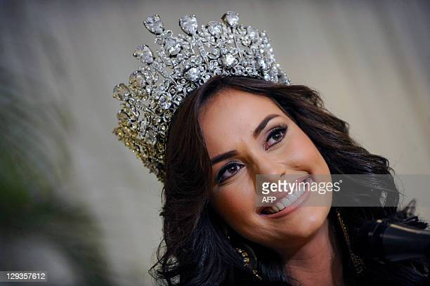 New Miss Venezuela 2011 Irene Esser smiles during a press conference in Caracas on October 16 2011 Esser won Miss Venezuela beauty pageant 2011...