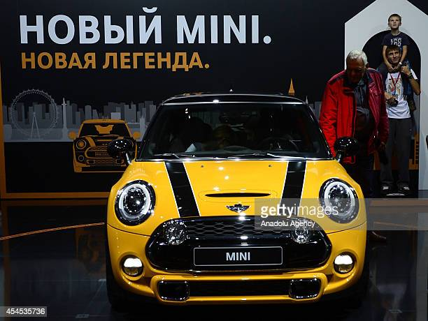 New model of Mini Cooper is on exhibition at the Moscow International Automobile Salon as the local and foreign brands introduce their newly designed...