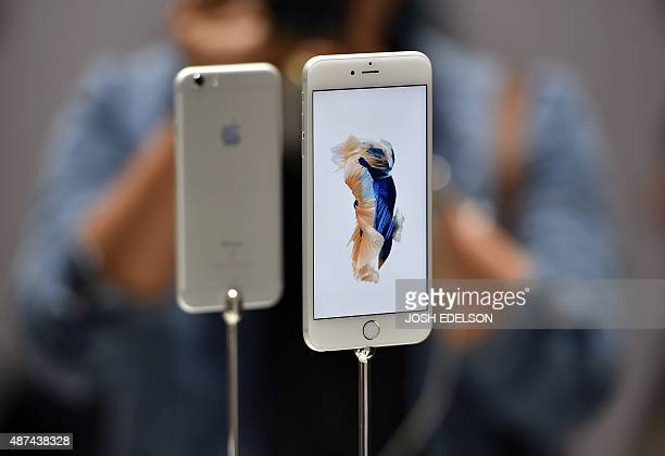 New models of the iPhone 6s are seen displayed during an Apple media event in San Francisco California on September 9 2015 Apple unveiled its iPad...