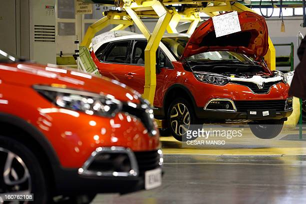 New models Renault Captur are seen during the inauguration of the production line of the new model Renault Captur in Valladolid, northern Spain on...