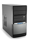 New modern black pc tower with copyspace isolated on white