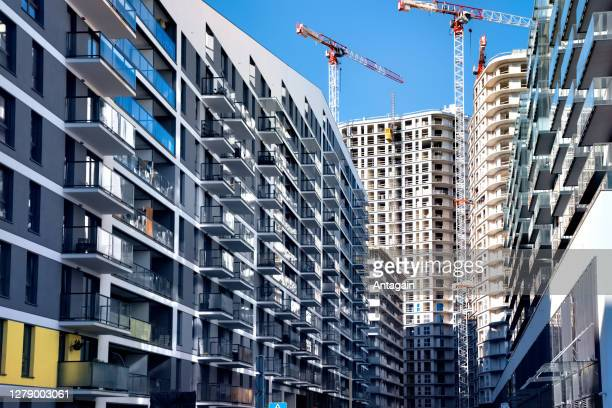 new modern complex of apartment buildings - real estate developer stock pictures, royalty-free photos & images