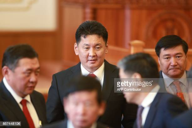 New Mongolian Prime Minister Ukhnaagiin Khurelsukh is seen in parliament in Ulaanbaatar the capital of Mongolia on October 4 2017 Mongolia named a...