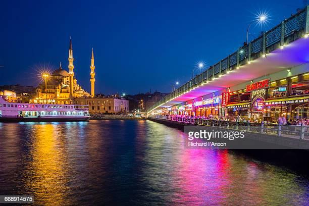 New Mosque & restaurants under Galata Bridge