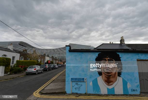New mural by CHELS , representing Diego Maradona, one of the greatest players in the history of football, seen in Dublin, near Aviva Stadium On...