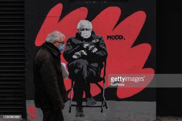 New mural by the Irish artist Emmalene Blake, representing US Senator Bernie Sanders at Joe Biden's inauguration as the 46th President of the US, in...