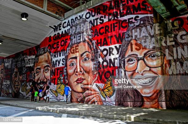 New murals line the streets as Juneteenth is celebrated on June 19 2020 in Atlanta Georgia Fresh protests rose up after an Atlanta police officer...