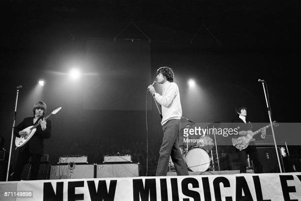 New Musical Express Poll Winners pop concert at Empire Pool Wembley 1965 The Rolling Stones performing on stage during the concert Left to right...