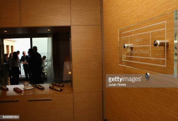 A new naming of Rafael Nadal's lucky hotel suite 'Suite Rafael Nadal' is unveiled as he meets with Albert II Prince of Monaco during Day Two of the...