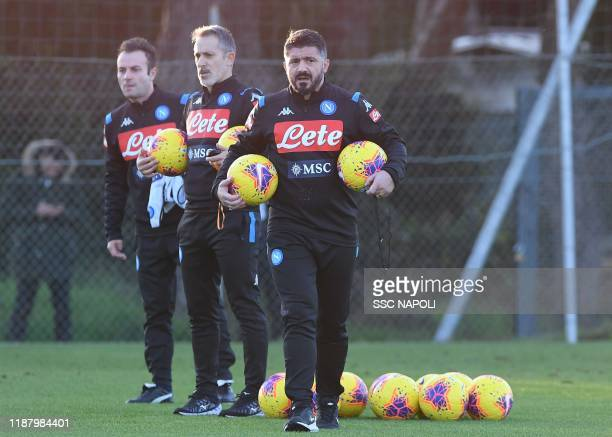 New Napoli head coach Gennaro Gattuso takes a training session with the team on December 11 2019 in Naples Italy