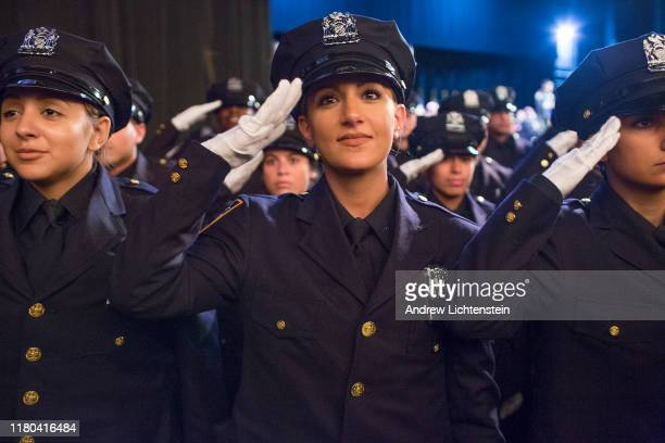New New York City police officers graduate from the police academy at a ceremony on October 10 2019 in Madison Square Garden in New York City