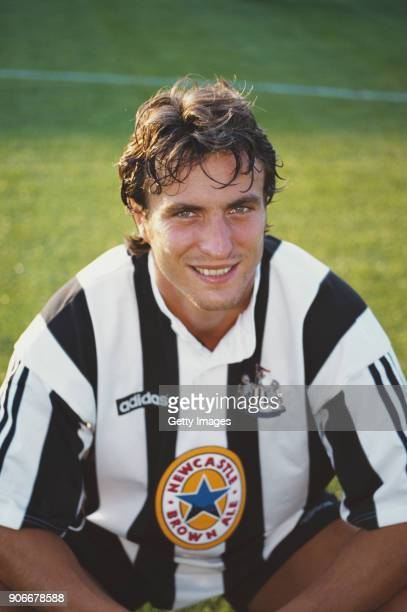 New Newcastle United signing David Ginola pictured in the new Adidas kit ahead of his first game for the club in a friendly match against Rushden and...