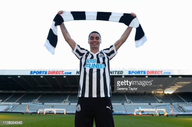 New Newcastle United signing Miguel Almiron is introduced to the media at St James Park on February 07 2019 in Newcastle upon Tyne England
