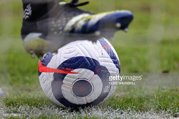 New Nike flight ball is pictured ahead of the English Premier League football match between Burnley and West Bromwich Albion at Turf Moor in Burnley,...