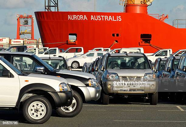 New Nissan and Toyota cars and trucks are stored and parked besides the Antarctic research ship Aurora Australis after their arrival in the Port of...