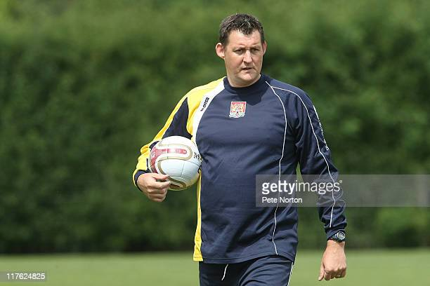 New Northampton Town assistant manager David Lee looks on during a training session at Moulton College on June 29 2011 in Northampton England