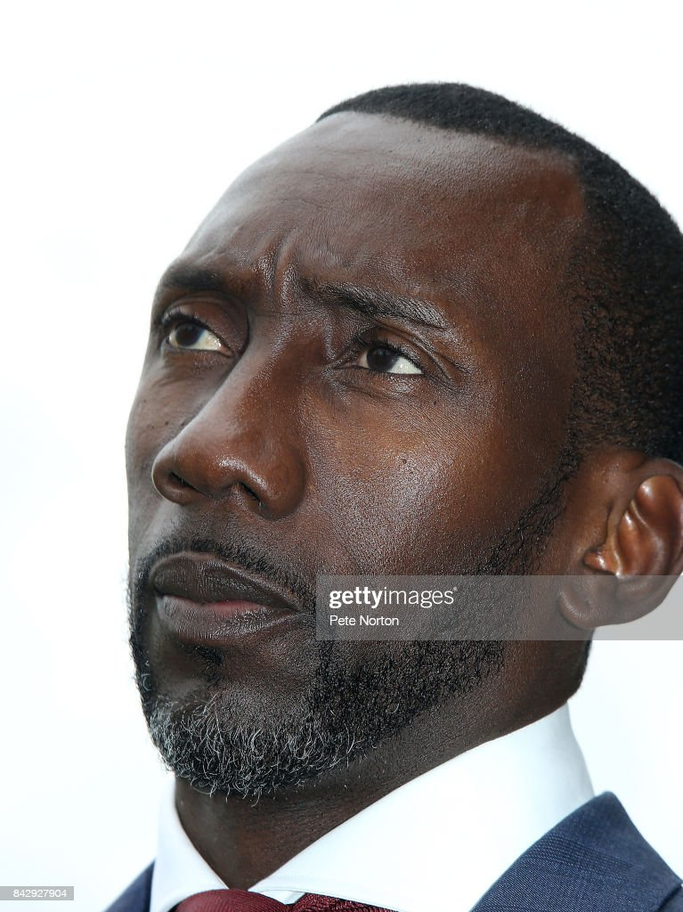 New Northampton Town manager Jimmy Floyd Hasselbaink during a press conference at Sixfields on September 5, 2017 in Northampton, England.