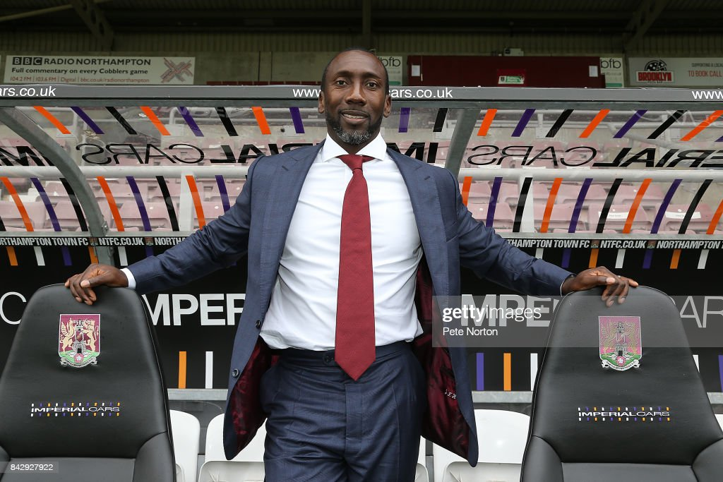 New Northampton Town manager Jimmy Floyd Hasselbaink poses during a press conference at Sixfields on September 5, 2017 in Northampton, England.