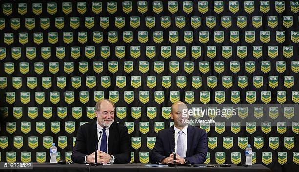 New NRL CEO Todd Greenberg and NRL Chairman John Grant speak to the media during a NRL press conference at NRL Headquarters on March 18 2016 in...