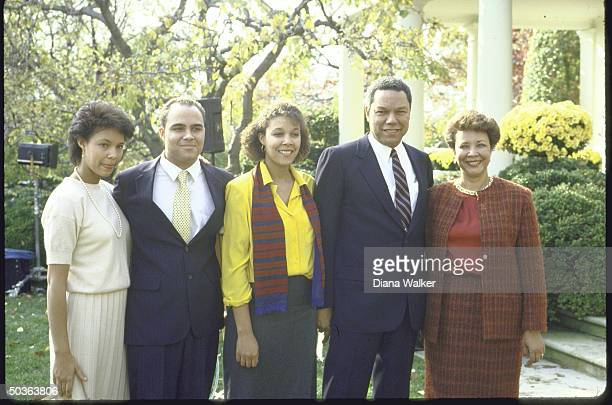 New NSC Advisor Lt Gen Colin Powell posed with his famil after his appointment to that position