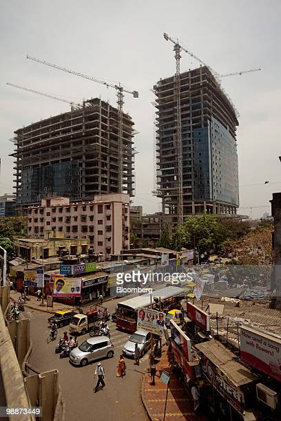 New office buildings are built opposite the Peninsula Corporate Park in the Lower Parel area of Mumbai India on Friday April 30 2010 UBS AG and...