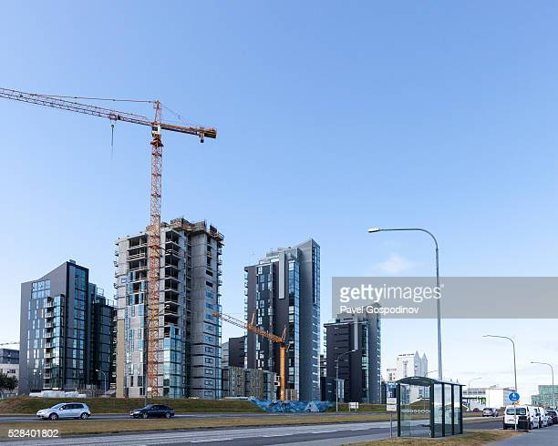 new office buildings constructions in reykjav��k, iceland - pavel foundation stock-fotos und bilder