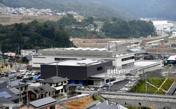 Memorial plaques are installed at a new Onagawa City Hall is seen as it is opened on September 25 2018 in Onagawa Miyagi Japan The new building is...