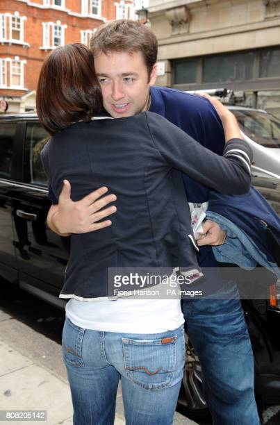 New One Show presenters Alex Jones and Jason Manford say goodbye outside Western House London after appearing on Chris Evanss Radio 2 breakfast show