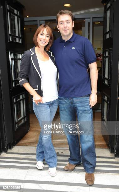 New One Show presenters Alex Jones and Jason Manford stand outside Western House London after appearing on Chris Evans's Radio 2 breakfast show