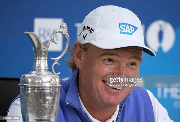 New Open Champion Ernie Els of South Africa speaks to the media after winning the 141st Open Championship at Royal Lytham & St. Annes Golf Club on...