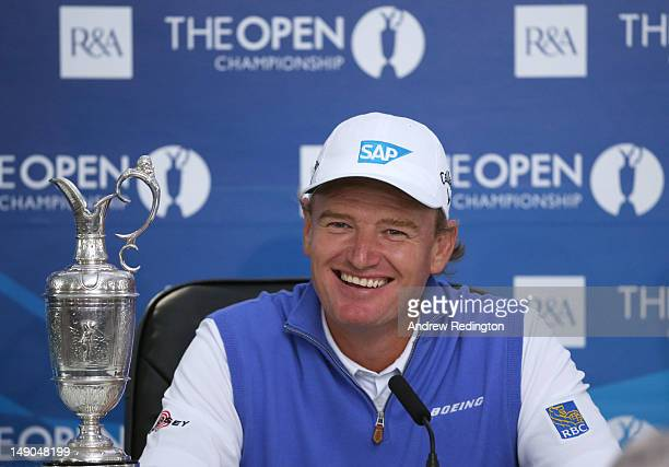 New Open Champion Ernie Els of South Africa speaks to the media after winning the 141st Open Championship at Royal Lytham St Annes Golf Club on July...