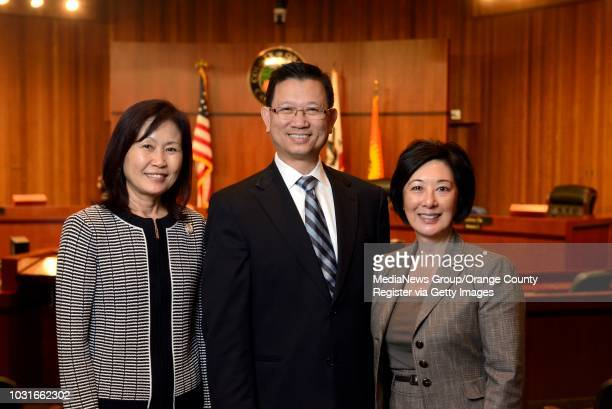 New Orange County Supervisors Michelle Steel second district left Andrew Do first district center and Lisa Bartlett fifth district on Tuesday in...