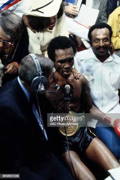 Juanita Wilkinson Howard Cosell Sugar Ray Leonard at Superdome Nov 25 1980