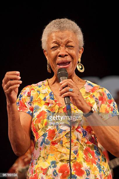 New Orleans born jazz singer Germaine Bazzle performs during day 6 of the 41st annual New Orleans Jazz Heritage Festival at the Fair Grounds Race...