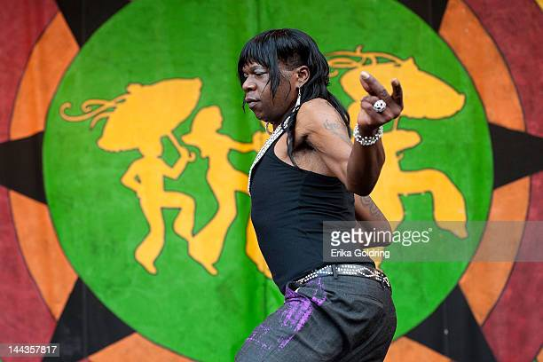 New Orleans Bounce rapper Big Freedia performs during the Bounce Shakedown at the 2012 New Orleans Jazz Heritage Festival at the Fair Grounds Race...